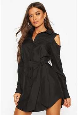 Black Cold Shoulder Shirt Dress