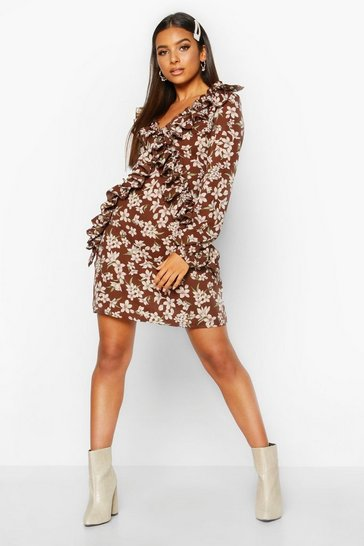 Womens Chocolate Floral Ruffle Frill Detail Skater Dress