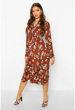 Womens Tan Floral High Neck Pussybow Midi Dress
