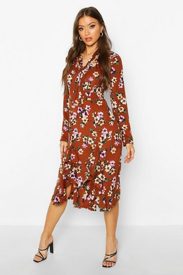 Tan Floral High Neck Pussybow Midi Dress