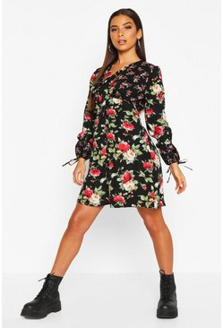 Dam Black Contrast Floral Pussybow Smock Dress