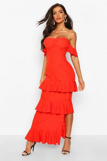Womens Red Off The Shoulder Ruffle Maxi Dress
