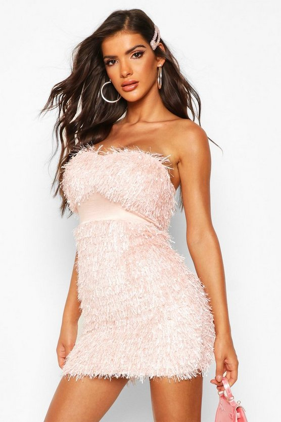 Womens Blush Feather Bandeau Mini Dress