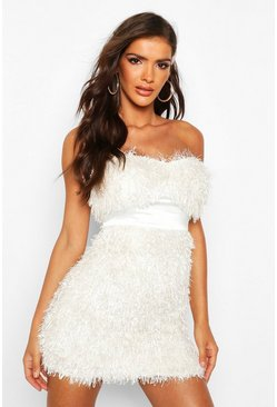 Ivory Feather Bandeau Mini Dress