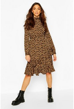 Brown Leopard Print High Neck Ruffle Midi Dress