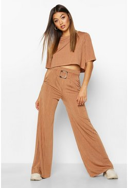 Womens Brown Slinky Rib T-Shirt & Wide Leg Trouser Co-ord