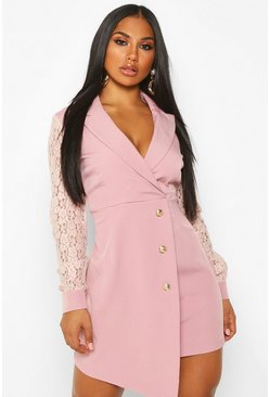 Womens Blush Lace Sleeve Tailored Blazer Dress