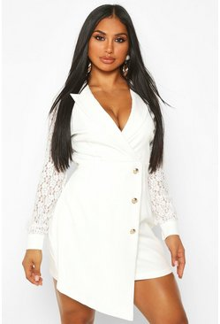 White Lace Sleeve Tailored Blazer Dress