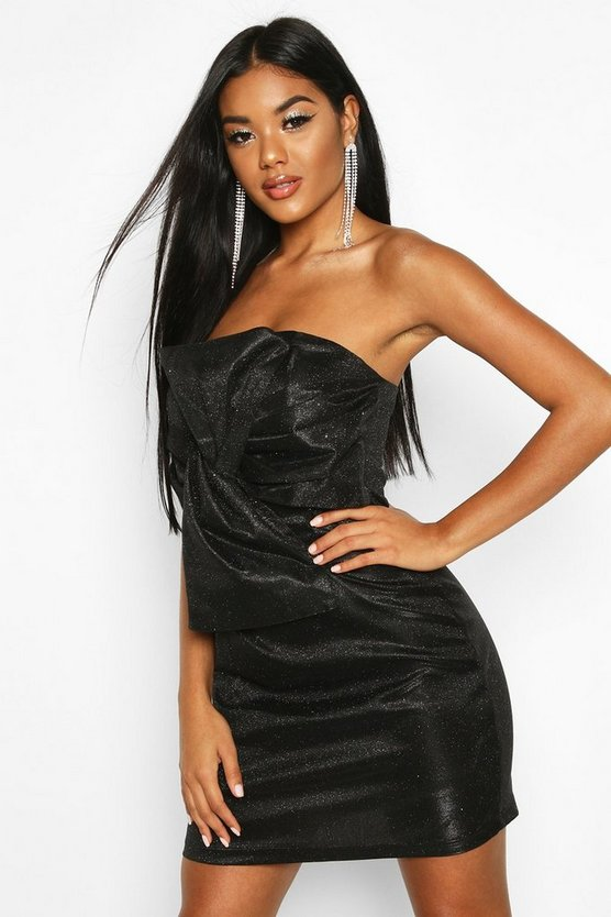 Glitter Metallic Twist Front Mini Dress