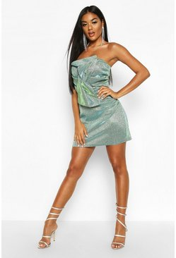 Womens Teal Glitter Metallic Twist Front Mini Dress