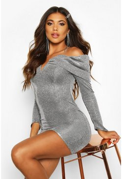 Silver Glitter Metallic Bardot Bodycon Dress
