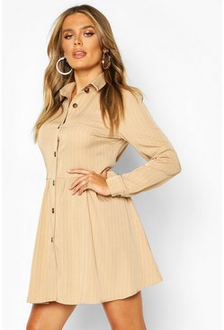 Womens Stone Stripe Button Detail Shirt Dress