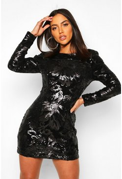 Womens Black Sequin Velvet Long Sleeve Bodycon Dress