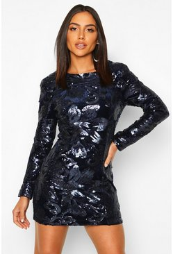 Womens Blue Sequin Velvet Long Sleeve Bodycon Dress