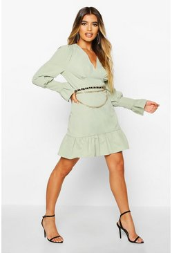 Khaki Ruffle Detail Plunge Smock Dress