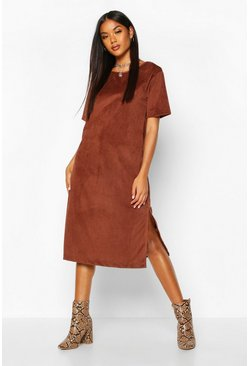 Womens Chocolate Cord Cap Sleeve Midi Dress