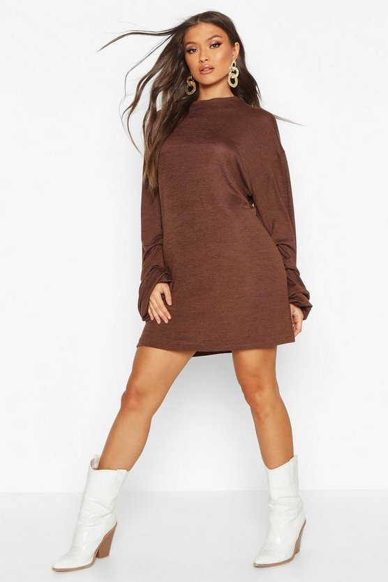 Chocolate Ruched Sleeve Shift Dress