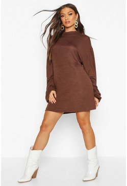 Womens Chocolate Ruched Sleeve Shift Dress