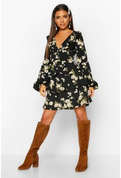Black Floral Ruffle Plunge Tiered Skater Dress