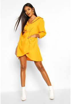 Womens Mustard Twist Front Shirt Dress