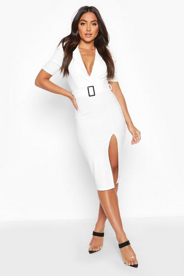 Womens Ivory Belted Puff Sleeve Midi Blazer Dress