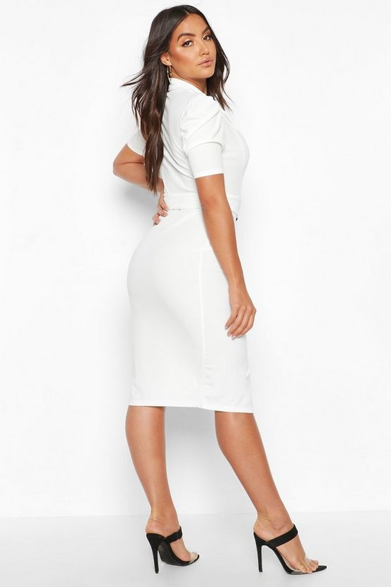Belted Puff Sleeve Midi Blazer Dress