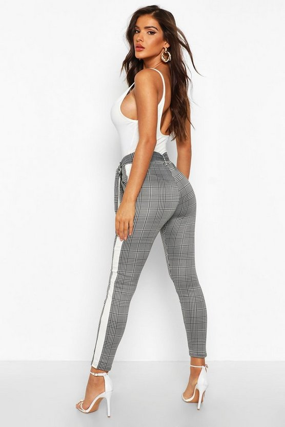 Tie Waist Check Trouser With Contrast Panel