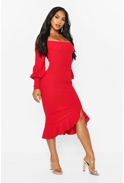 Red Bardot Balloon Sleeve Ruffle Midi Dress