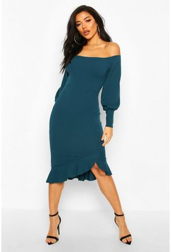 Teal Bardot Balloon Sleeve Ruffle Midi Dress