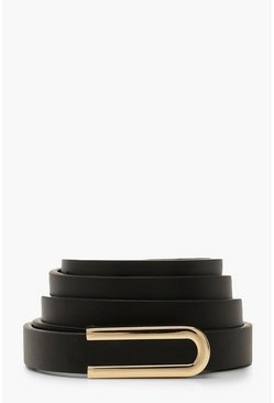 Womens Black Bar Detail Buckle Belt