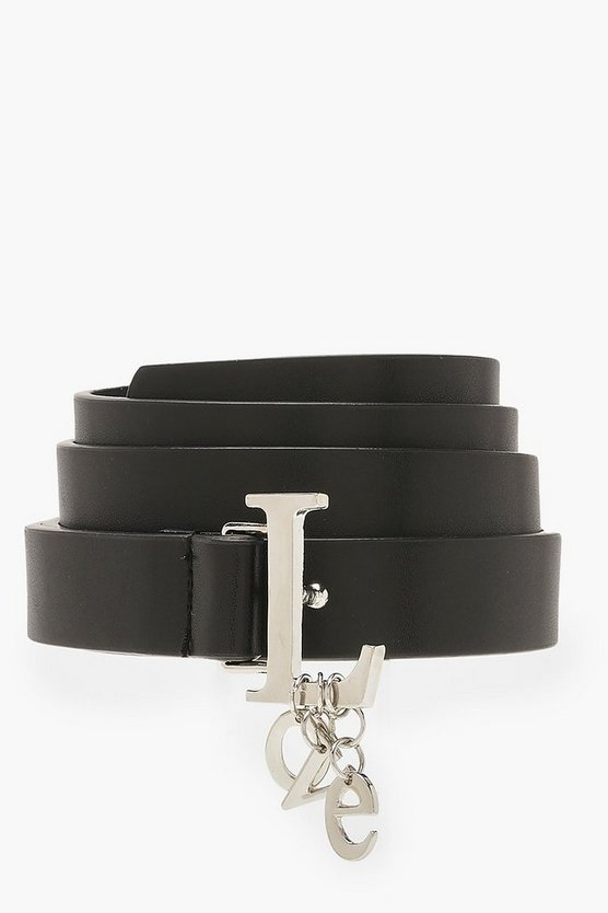 Black LOVE Charm Detail Buckle Belt