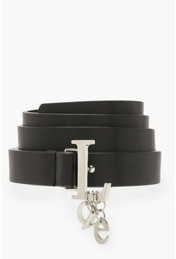 Womens Black LOVE Charm Detail Buckle Belt