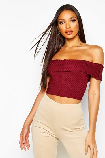 ae1465822d7 Ribbed Off The Shoulder Crop Top