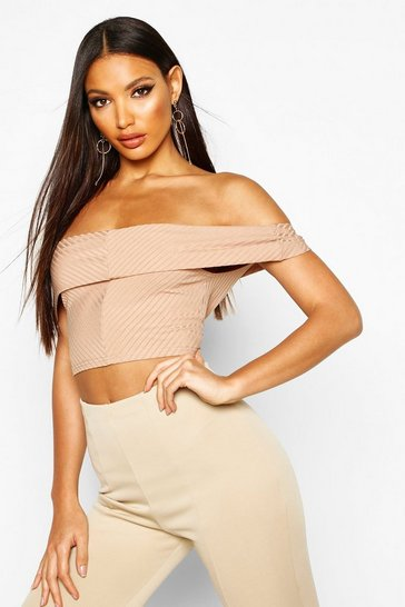 Stone Ribbed Off The Shoulder Crop Top