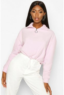Womens Lilac Cropped Fleece O-Ring Drawstring Sweat