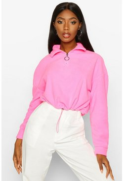 Neon-pink Cropped Fleece O-Ring Drawstring Sweat