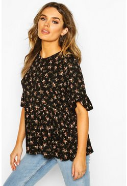 Womens Black Ditsy Floral Frill Sleeve Smock