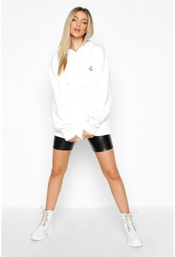 Womens White Rose Pocket Embroidered Hoody
