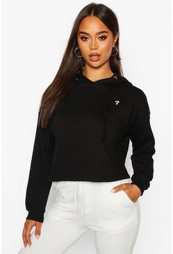 Womens Black Micro Pocket Cropped Hoody