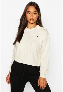 Womens Ecru Micro Pocket Cropped Hoody