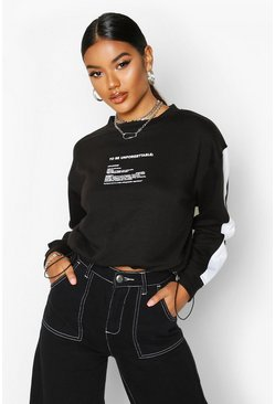 Womens Black Slogan Detail Side Stripe Sweat
