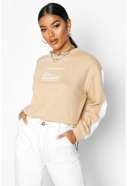 Womens Camel Slogan Detail Side Stripe Sweat