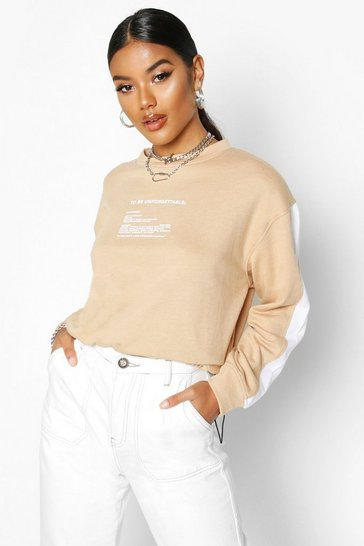 Camel Slogan Detail Side Stripe Sweat