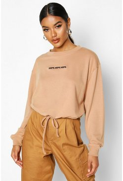 Womens Mocha Slogan Drawcord Crop Sweat