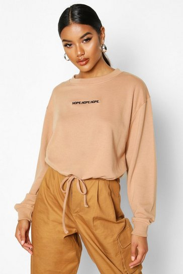 Mocha Slogan Drawcord Crop Sweat
