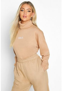 Womens Camel Slogan Detail High Neck Crop Sweat