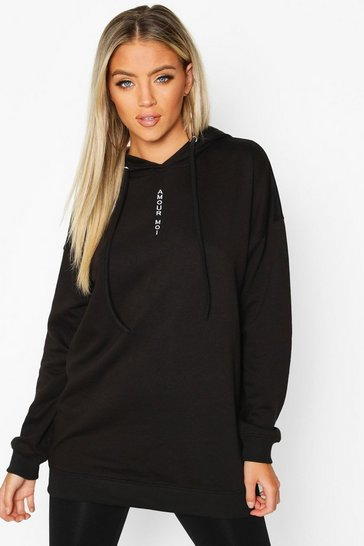 Black Slogan Front Oversized Hoody