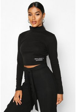 Womens Black Long Sleeve Small Slogan High Neck Crop