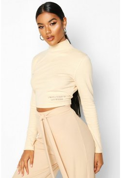Dam Stone Long Sleeve Small Slogan High Neck Crop