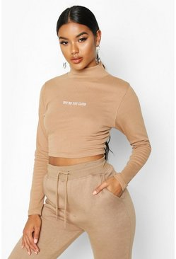 Camel Long Sleeve Slogan High Neck Rib Crop